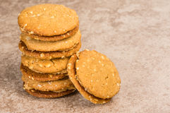 Stack of peanut butter filled cookies Stock Photography