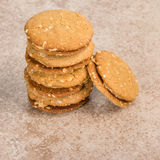 Stack of peanut butter filled cookies Royalty Free Stock Photo
