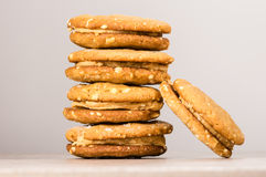 Stack of peanut butter filled cookies Royalty Free Stock Image