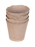 Stack peat pots Royalty Free Stock Photo