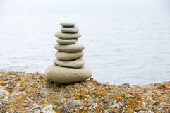 Stack of pebble on seashore Royalty Free Stock Images