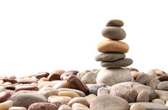 Stack of pebble stones on white Royalty Free Stock Photos