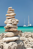 Stack of pebbles on the beach. Royalty Free Stock Photography
