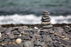 Stack of pebbles on beach, Koh Hin Ngam, Andaman Sea, in Tarutao. Marine National Park, Satun, Thailand Stock Images