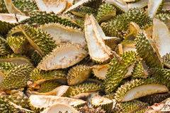 Stack of peeled durian Stock Image