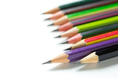 Stack of pencils on white background Stock Photography