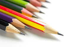 Stack of pencils on white background Stock Photos