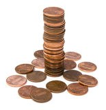 Stack of Pennies. Isolated on a white background Royalty Free Stock Photos
