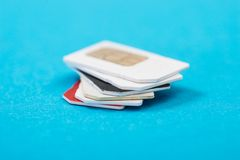 Stack of phone sim card Royalty Free Stock Images