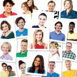 Stack of photo shots, multi ethnic people royalty free stock photography