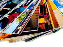 Stack of the photos, isolated on a white background Stock Photos