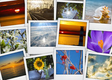 Stack of photos long journey through life on a wooden background Royalty Free Stock Image
