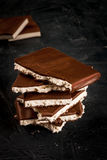 Stack of pieces of chocolate royalty free stock photos