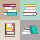 Stack or pile of books vector icons in a flat style stock illustration