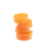Stack pile of carrot slices isolated Stock Images