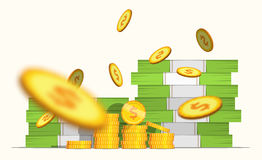 Stack pile of cash money banknotes and some blur gold coins. Coin Falls. Flat style cash money illustration. Big stacked pile of cash banknotes and some blur Stock Image