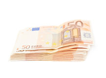 Stack pile of fifty euro bank notes Royalty Free Stock Images