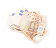 Stack pile of fifty euro bank notes Royalty Free Stock Photos