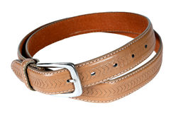 Stack pile of leather belts Royalty Free Stock Images