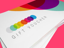 Stack or pile of modern design retro flat colour git vouchers Royalty Free Stock Image