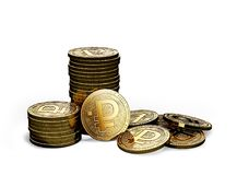 Stack or piles of Crypto ruble cryptocurrency isolated on white background stock illustration