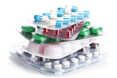 Stack of pill packs isolated Stock Photo