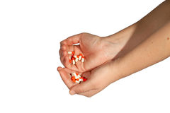 Stack of pills in woman hands Royalty Free Stock Photo