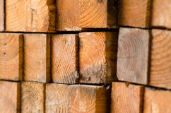 stack of pine boards on building materials warehouse Stock Image