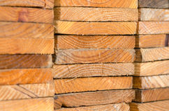 stack of pine boards on building materials warehouse Stock Images