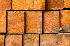 stack of pine boards on building materials warehouse Royalty Free Stock Photos