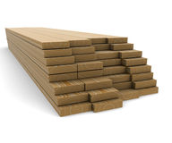 A stack of pine boards on a white background Royalty Free Stock Photo