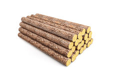 Stack of pine logs. 3d render Stock Images