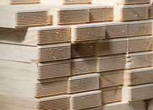 Stack of pine wood planks Stock Images