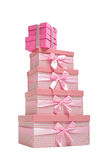 stack of pink gift boxes with ribbons Stock Images