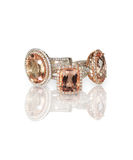 Stack of pink morganite diamond halo set engagment fashion rings. Cluster stack of diamond gemstone wedding engagment rings. Cushion Cut morganite pink stones Royalty Free Stock Photography