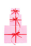 Stack of pink presents royalty free stock photo