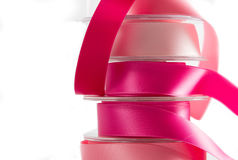 Stack of pink satin ribbon Stock Photo