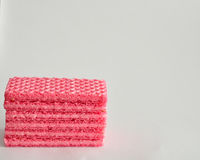 Stack of pink wafer biscuits Stock Images