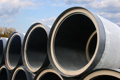 Stack of pipes of the big diameter Stock Image