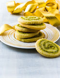 Stack of pistachio cookies Stock Images