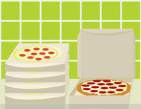 Stack of pizza boxes and open box. Pizza and boxes on a counter with a green tile wall stock illustration