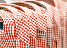 Stack of plaid shirts royalty free stock photography