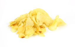 Stack Plain Potato Chips Stock Image