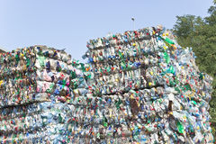 Stack of plastic bottles for recycling. Against blue sky Stock Image