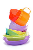 Stack of Plastic Bowls. Stack of Color Plastic Bowls on white background stock photos