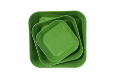 Stack of plastic bowls. Stack of 3 square plastic bowls Stock Photography