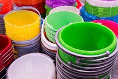 stack of plastic bucket Stock Image