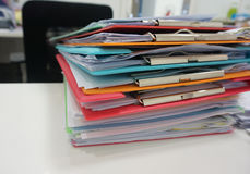 Stack of plastic clipboard and file document Stock Photos
