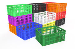 Stack plastic crates Royalty Free Stock Photos