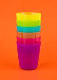 Stack plastic glass,rainbow color Stock Photos